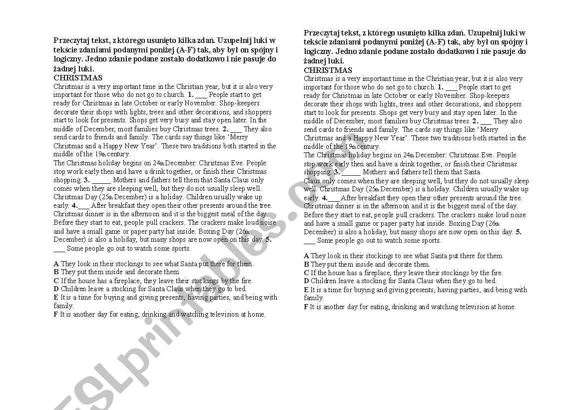 English Worksheets Christmas