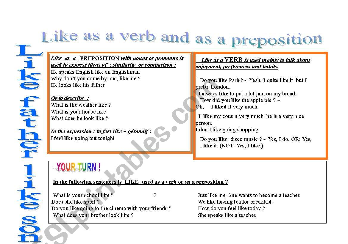 Like As A Preposition And Like As A Verb