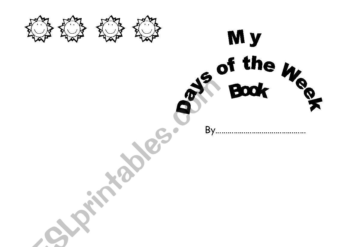 English Worksheets My Days Of The Week Book