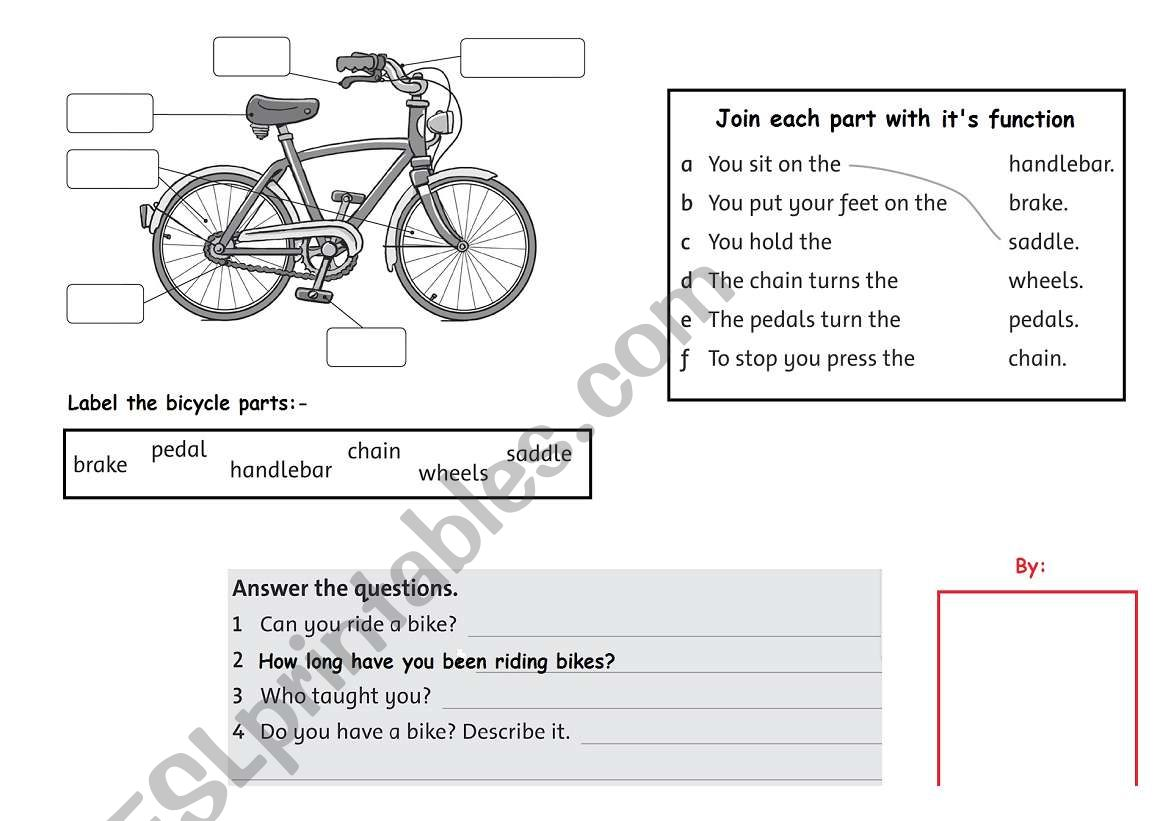 Bike Kindergarten Worksheet