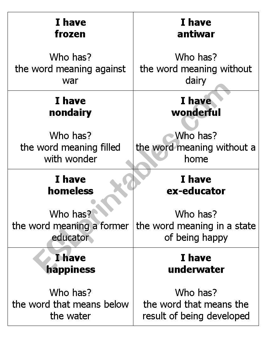 hight resolution of English worksheets: 4th Grade Prefix and Suffix I have Who has