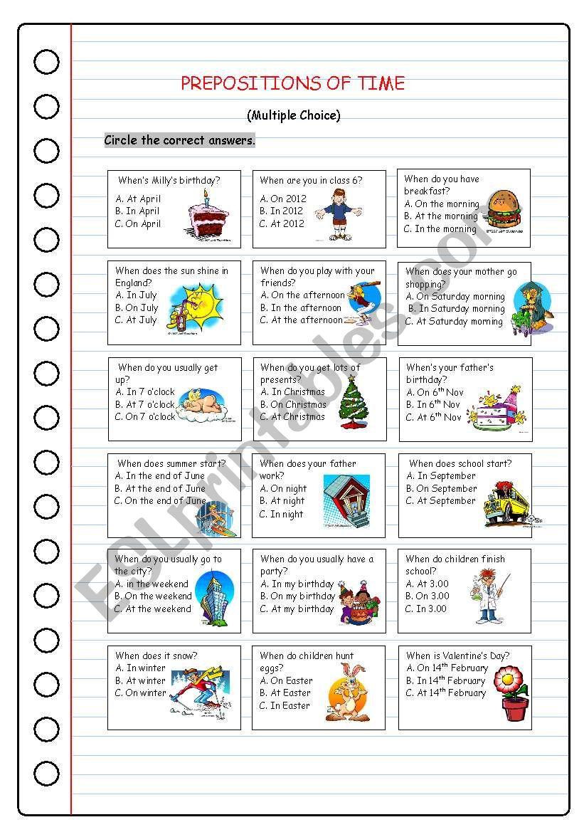 medium resolution of Prepositions of Time - ESL worksheet by kissnetothedit