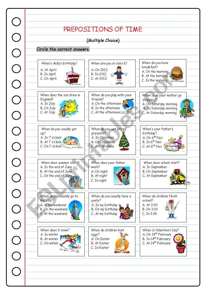 hight resolution of Prepositions of Time - ESL worksheet by kissnetothedit