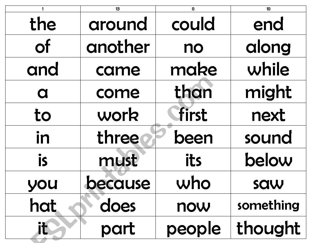 English Worksheets Sight Word Lists