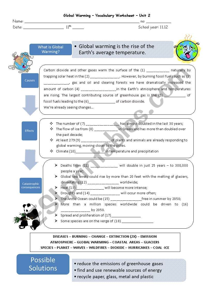 hight resolution of Global Warming - ESL worksheet by capelini