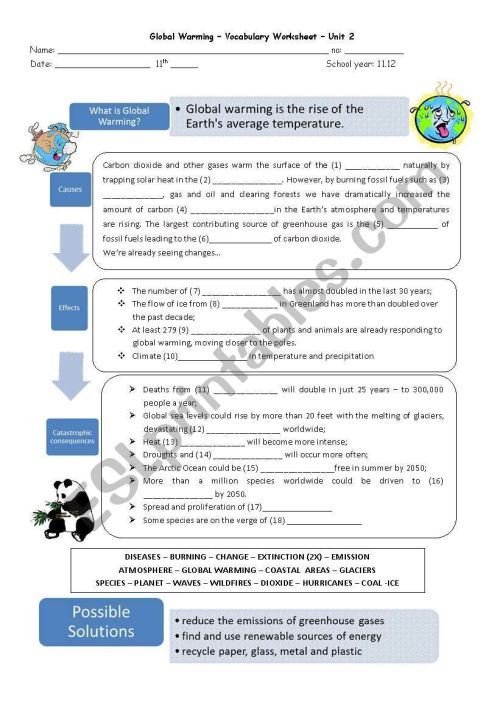 small resolution of Global Warming - ESL worksheet by capelini