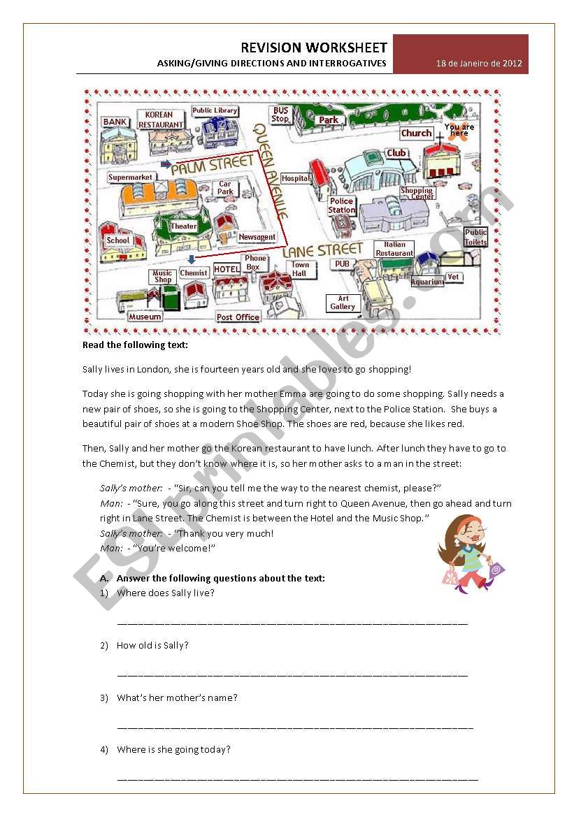 hight resolution of Test 6th grade: Asking/giving directions and Interrogative Pronouns  exercises - ESL worksheet by emartins