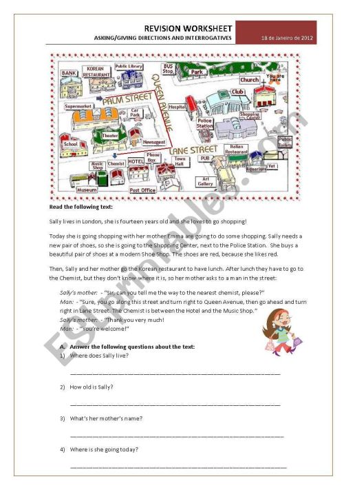 small resolution of Test 6th grade: Asking/giving directions and Interrogative Pronouns  exercises - ESL worksheet by emartins