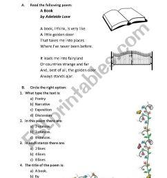 reading a poem: A book - ESL worksheet by hokage8002 [ 1169 x 821 Pixel ]