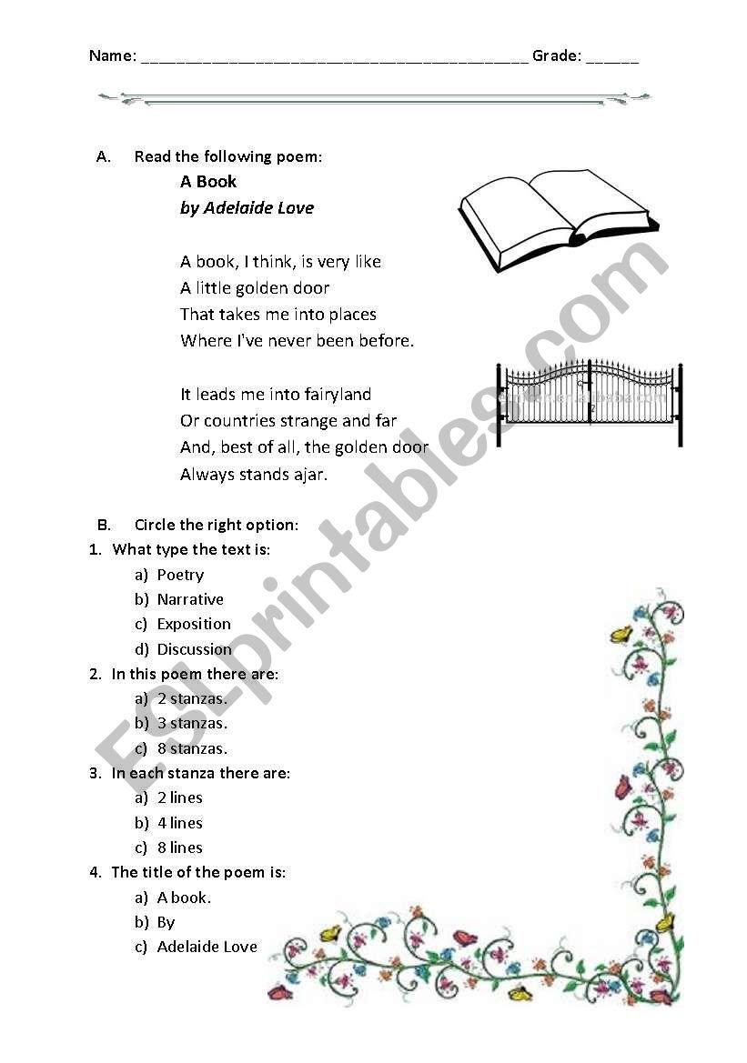 medium resolution of reading a poem: A book - ESL worksheet by hokage8002