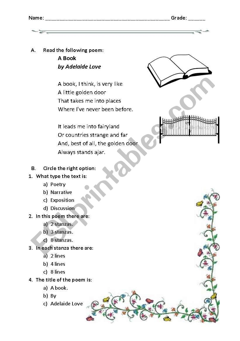 hight resolution of reading a poem: A book - ESL worksheet by hokage8002
