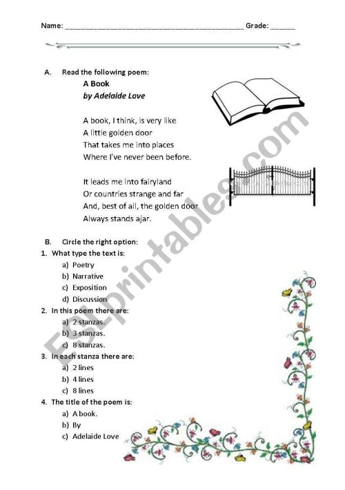 small resolution of reading a poem: A book - ESL worksheet by hokage8002