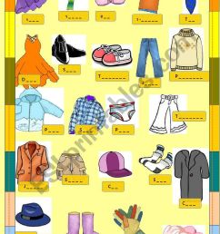 clothes small clipart - ESL worksheet by majcek [ 1169 x 821 Pixel ]
