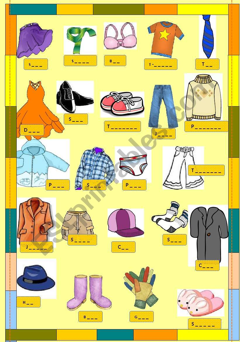 hight resolution of clothes small clipart - ESL worksheet by majcek