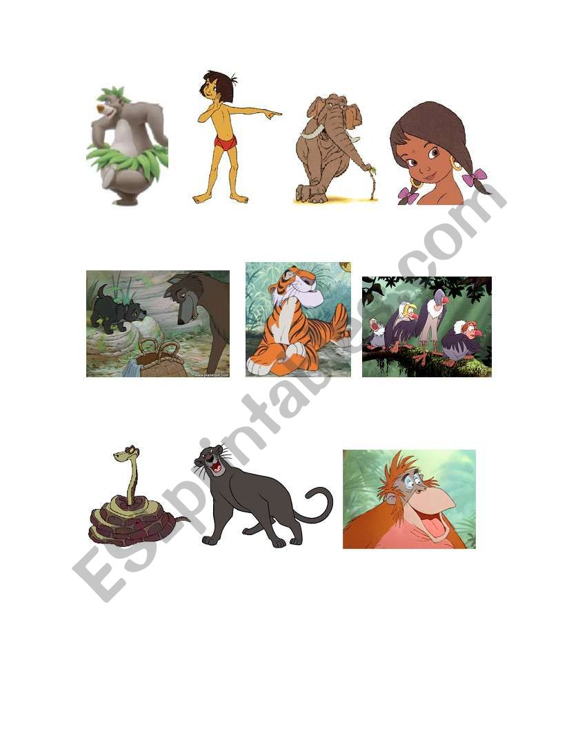 English Worksheets The Jungle Book Characters And Comprehension