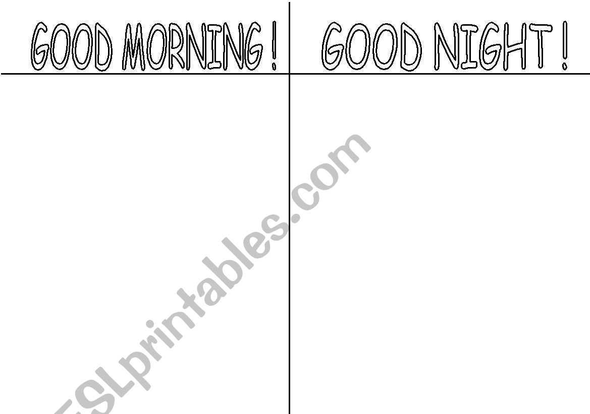 English Worksheets Good Morning Good Night