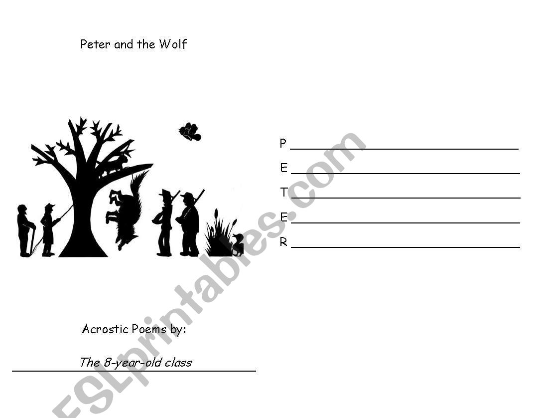 English Worksheets Peter And The Wolf Acrostic Poem