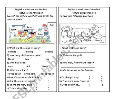 small resolution of Picture comprehension part 3 - ESL worksheet by zuhu