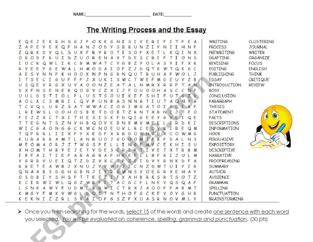 The Writing Process And The Essay Wordsearch