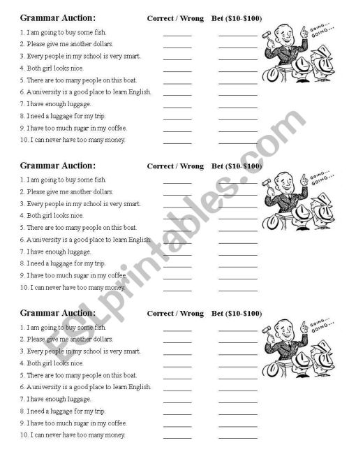 small resolution of Grammar Auction - Determiners - ESL worksheet by saraden