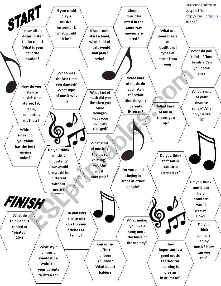 English worksheets: Music Conversation Board Game