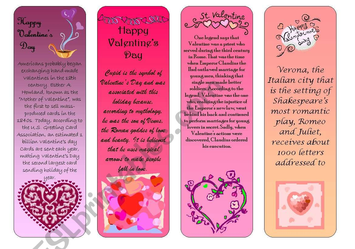 Valentine S Day Bookmarks