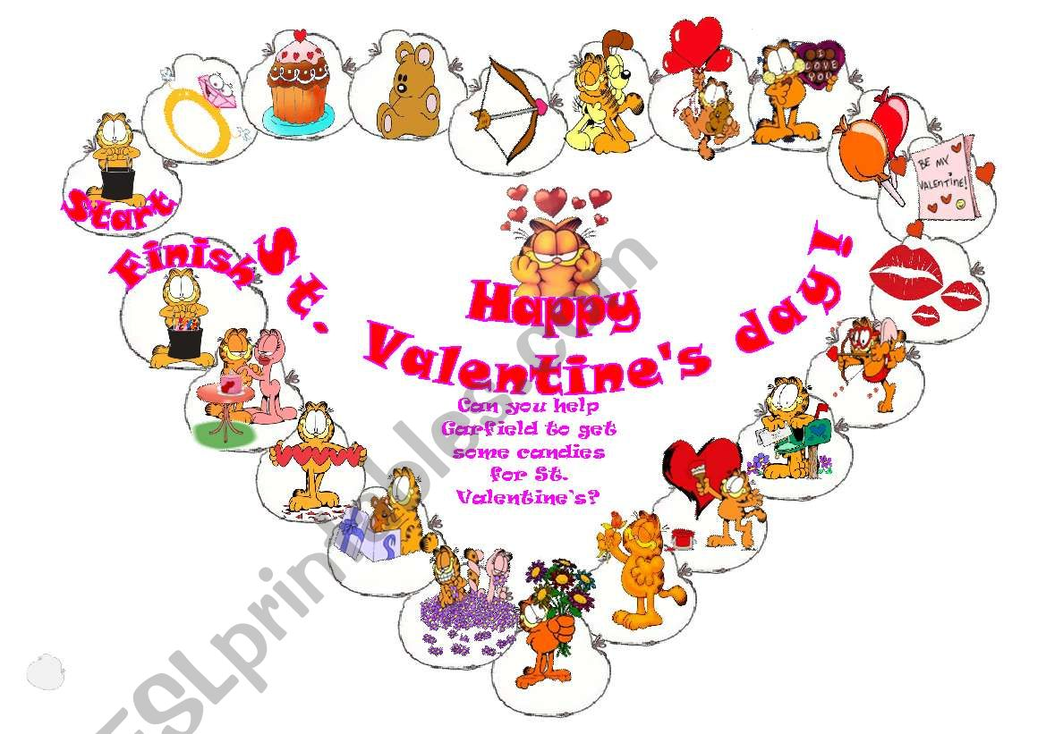 Heart St Valentine S Day Boardgame With Garfield