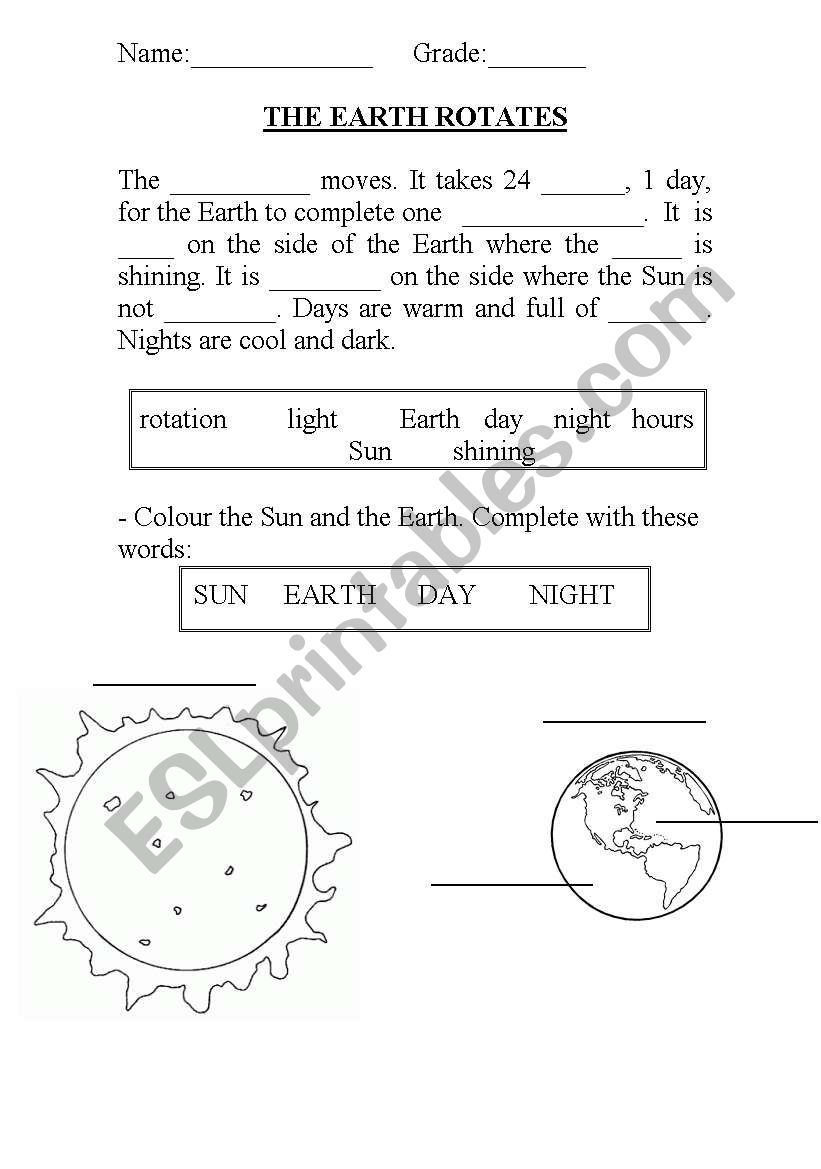 hight resolution of The Earth rotates - ESL worksheet by charlie_ms23