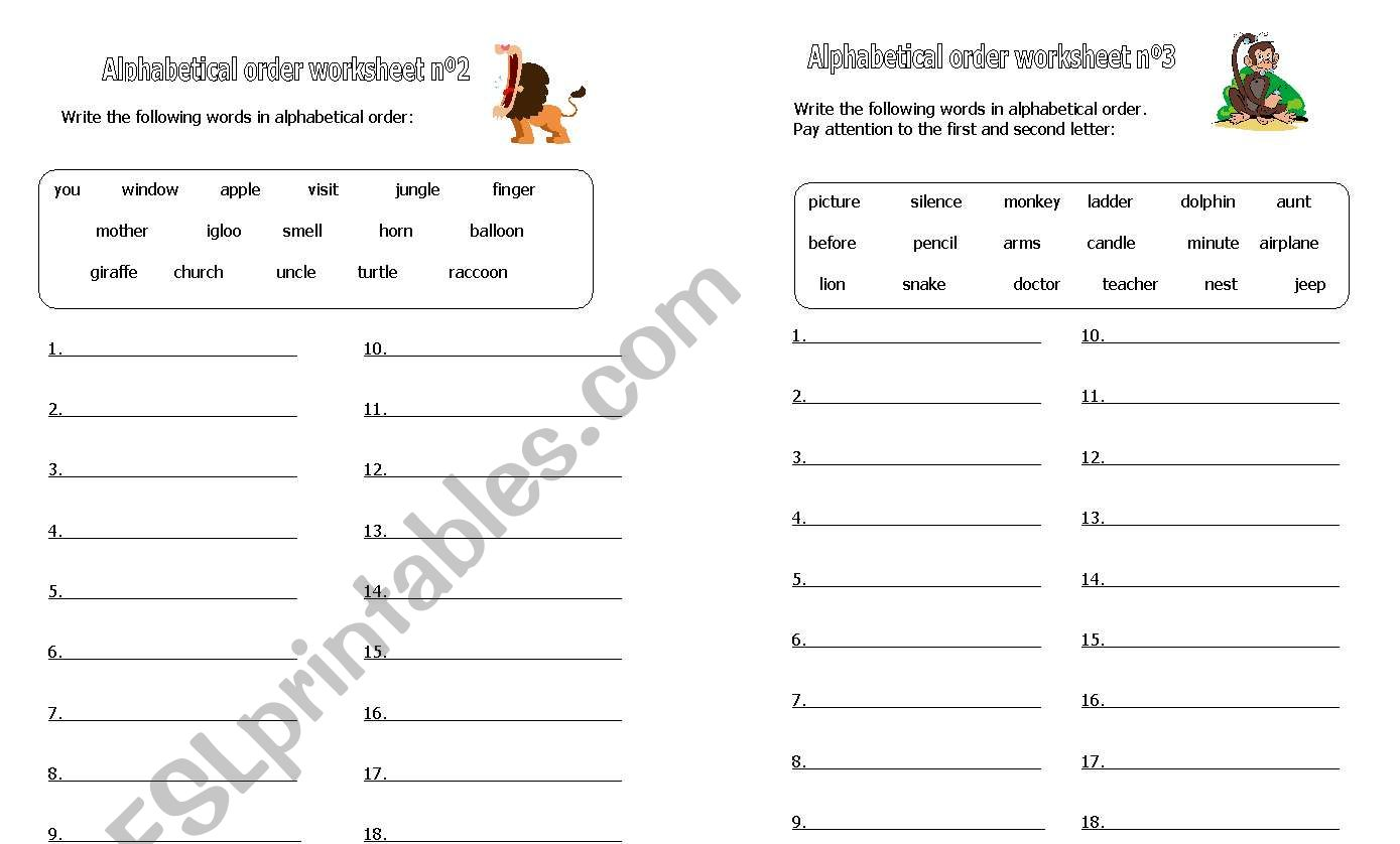 English Worksheets Alphabetical Order