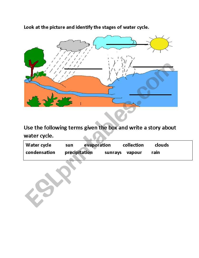 hight resolution of water cycle worksheet
