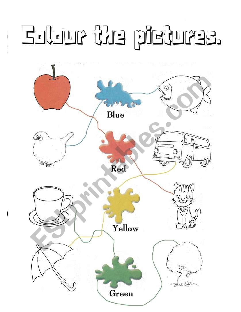 English Worksheets Colours
