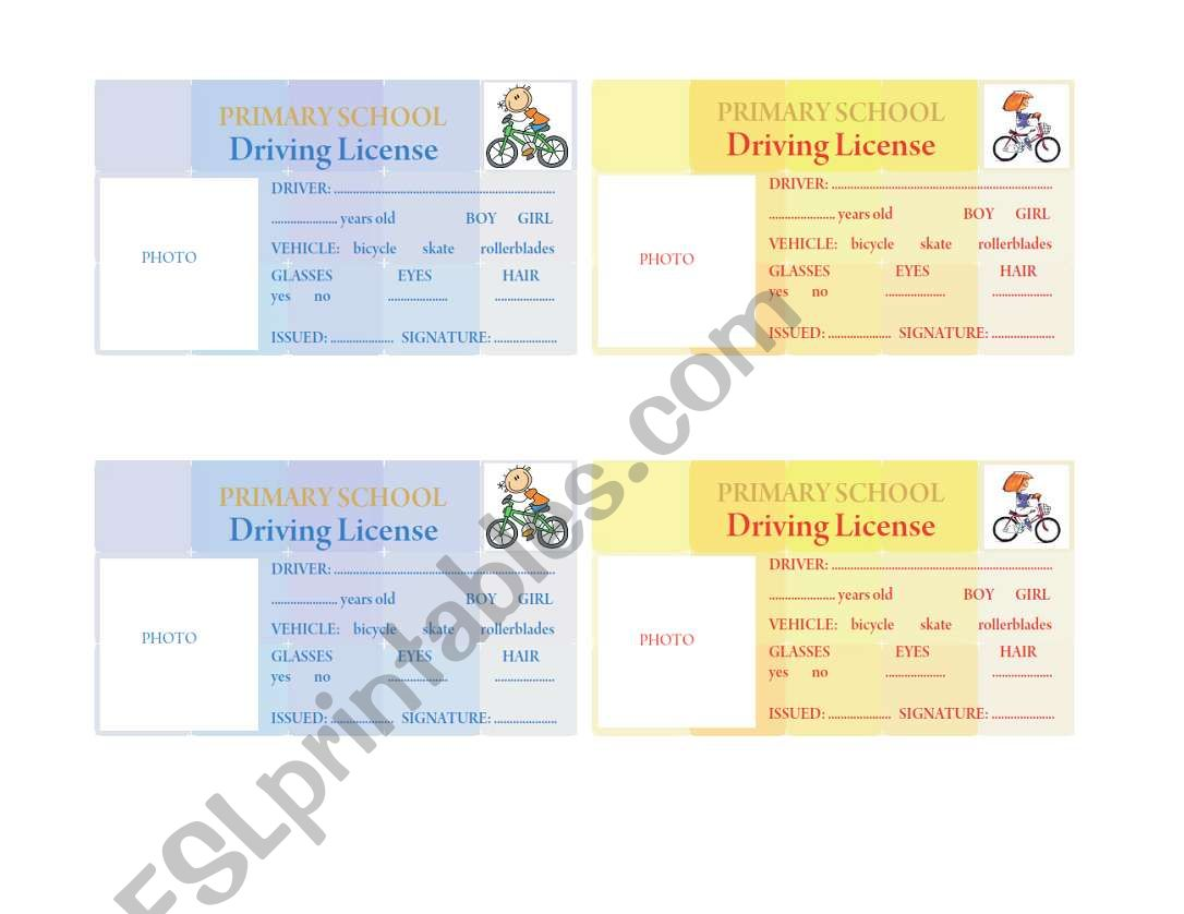 Driving License For Kids
