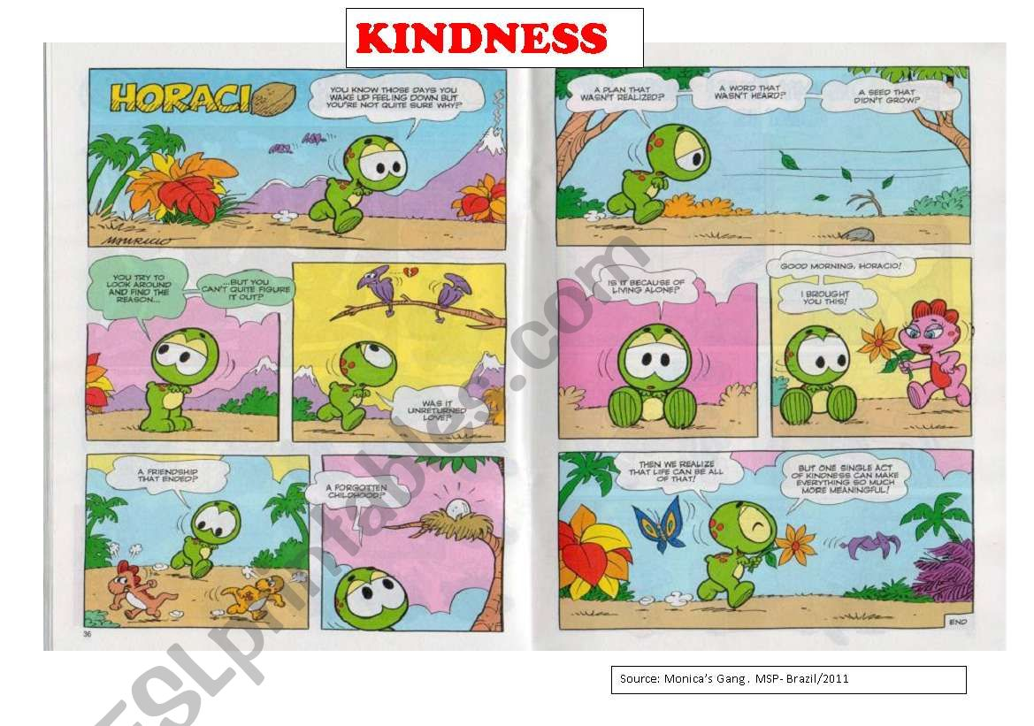 Kindness 2 Pages Comic Strip And A Reading Text