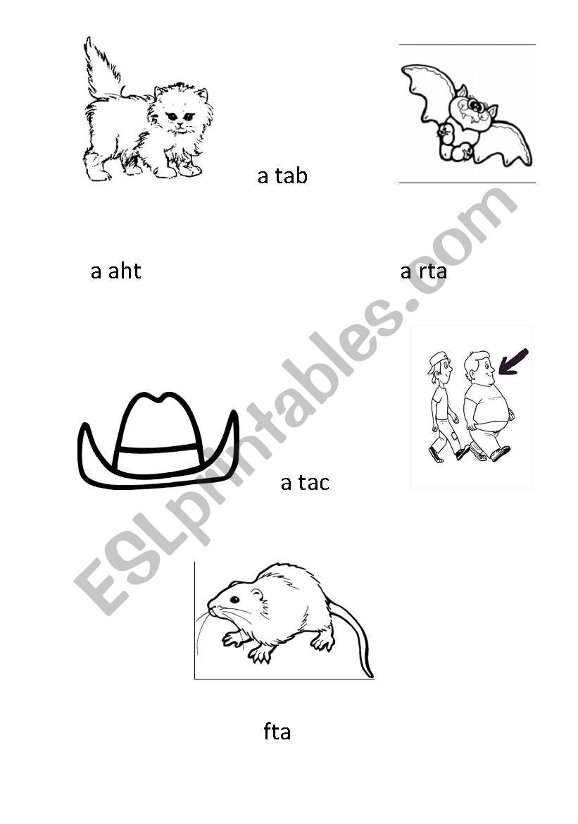 English worksheets: Unscramble and match