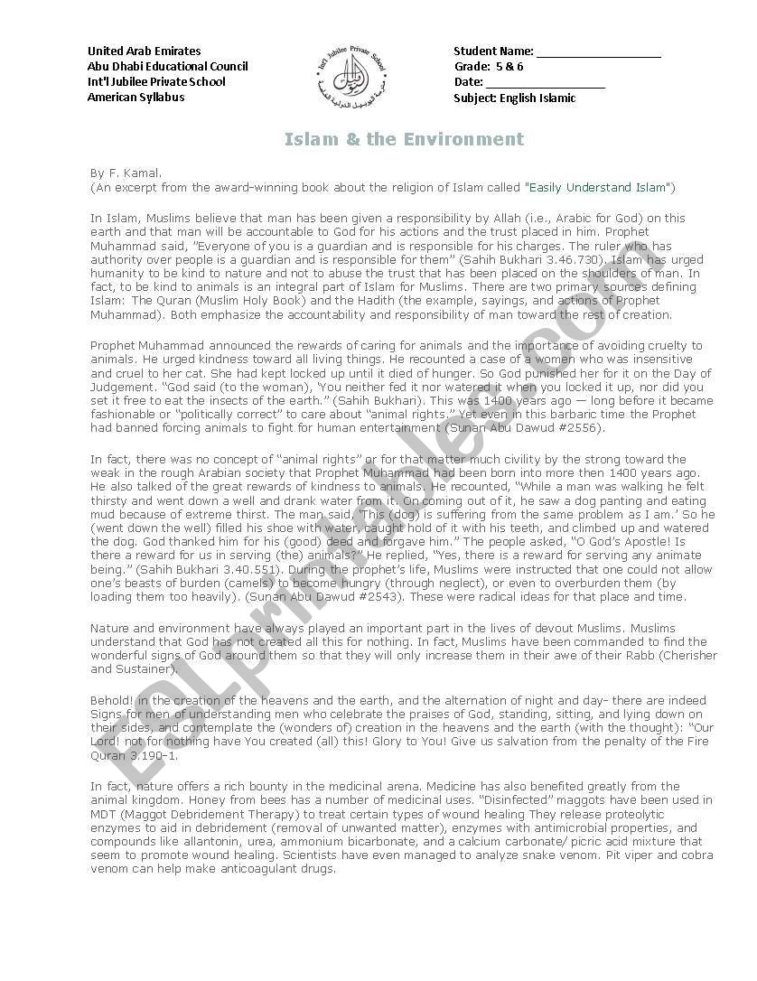 hight resolution of islam and environment - ESL worksheet by anoosa