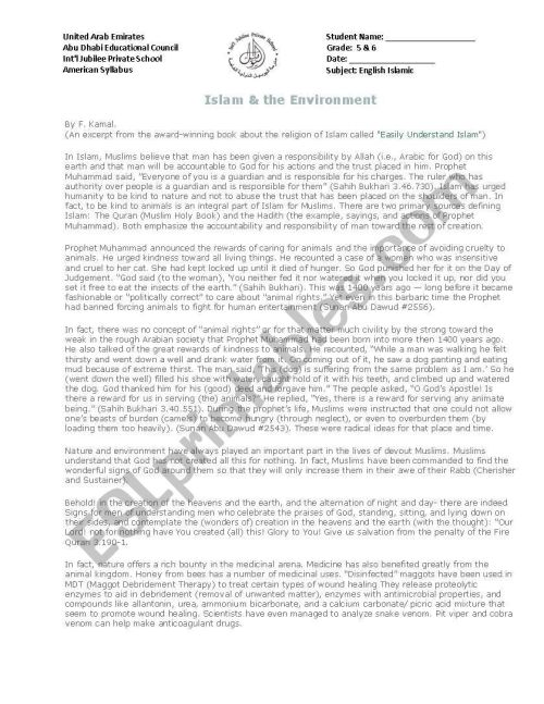 small resolution of islam and environment - ESL worksheet by anoosa