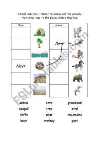 Animal Habitats 1 - ESL worksheet by Logos