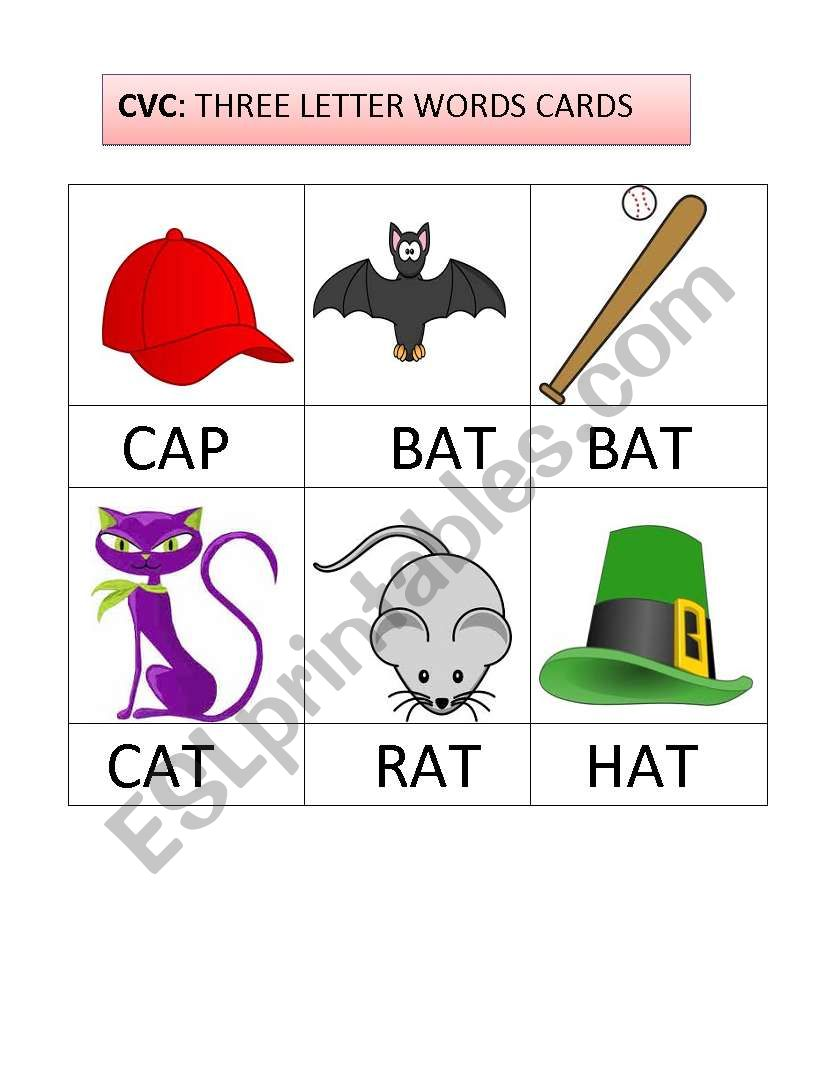 English worksheets: THREE LETTER WORDS FLASHCARDS