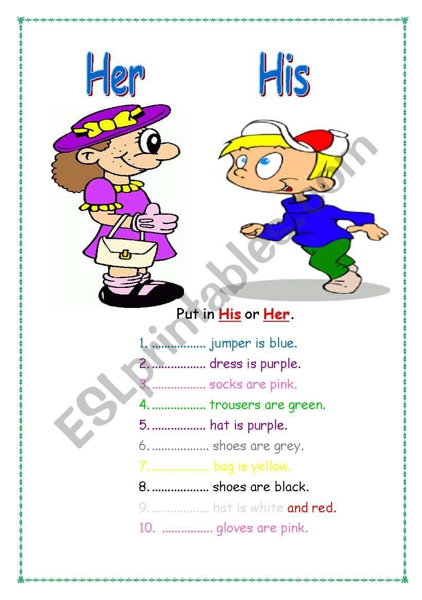 His Her  ESL worksheet by Servy