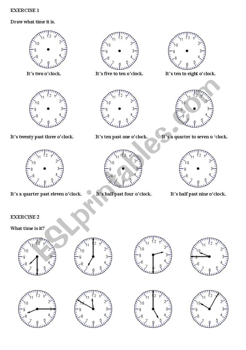 English worksheets: Hours and time