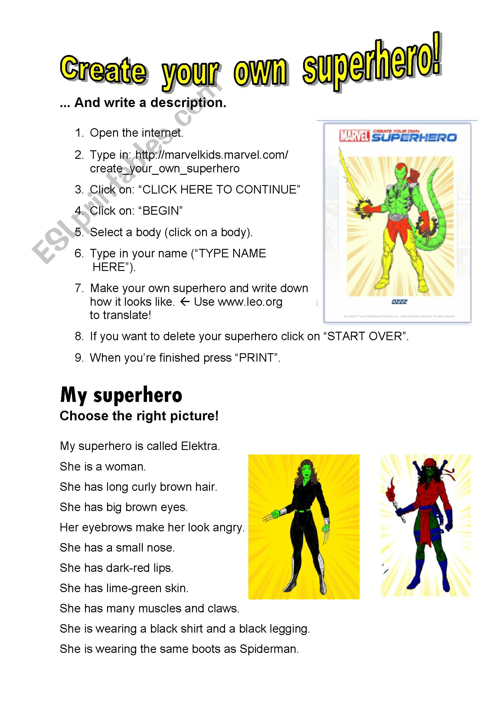 English Worksheets Create Your Own Superhero Key