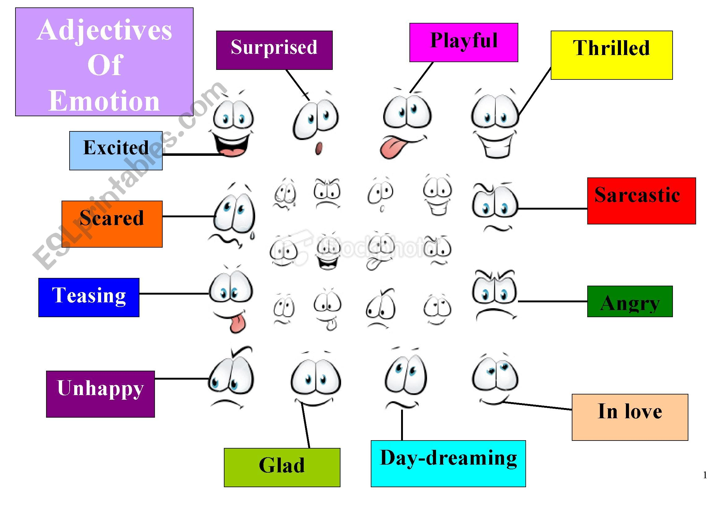 Adjectives Of Emotion For Beginners Worksheet 1