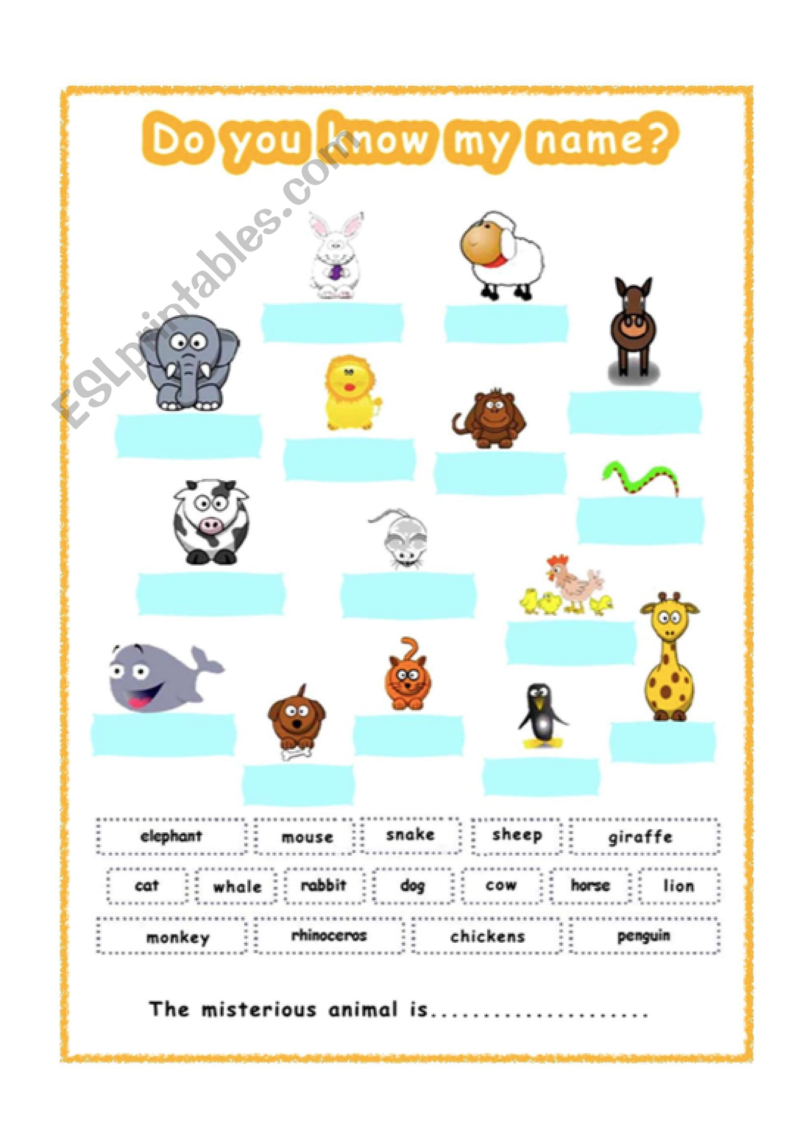 Vocabulary Animals Worksheet