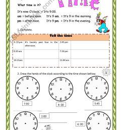 Telling Time - ESL worksheet by Aramis [ 2338 x 1653 Pixel ]