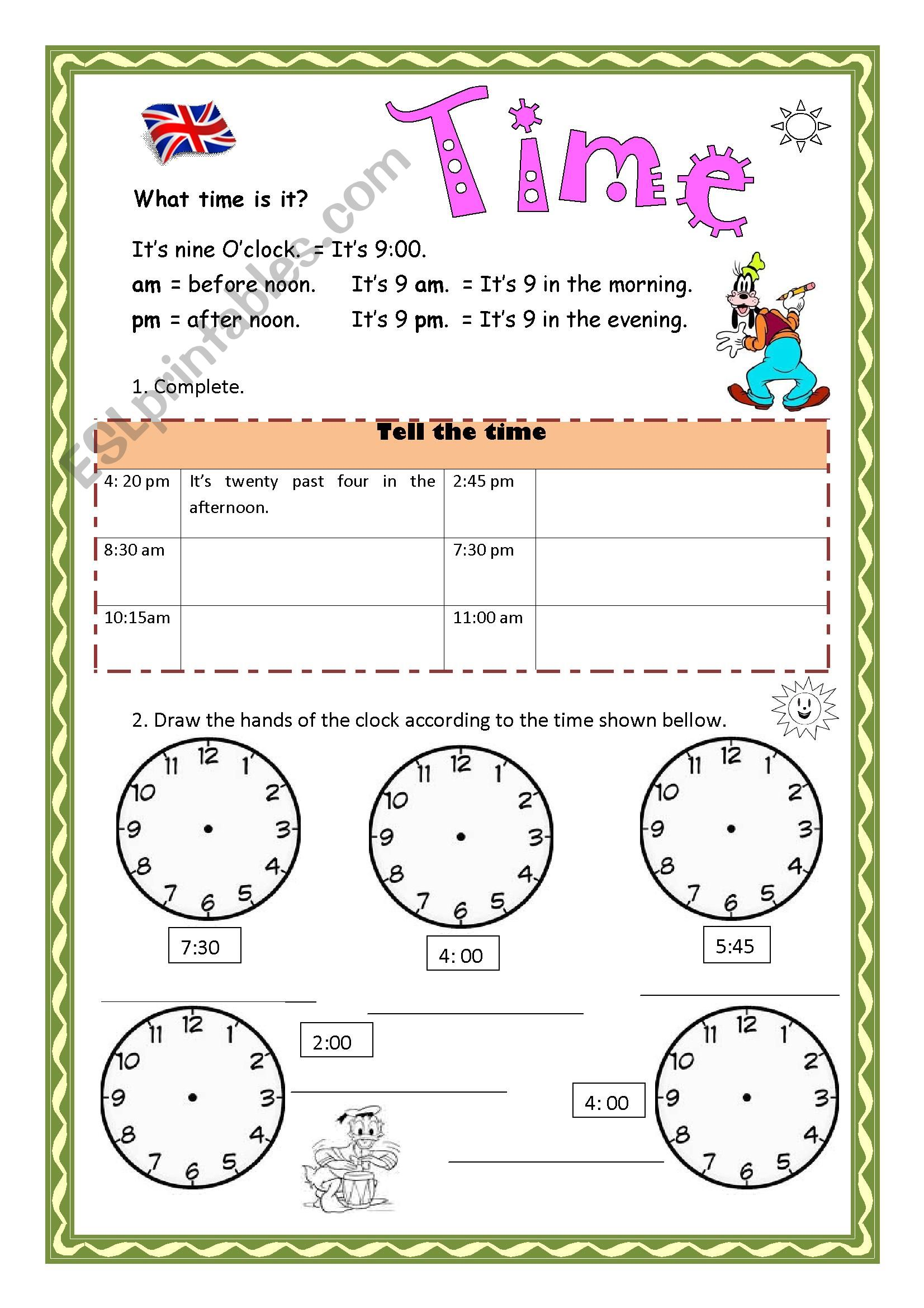 hight resolution of Telling Time - ESL worksheet by Aramis
