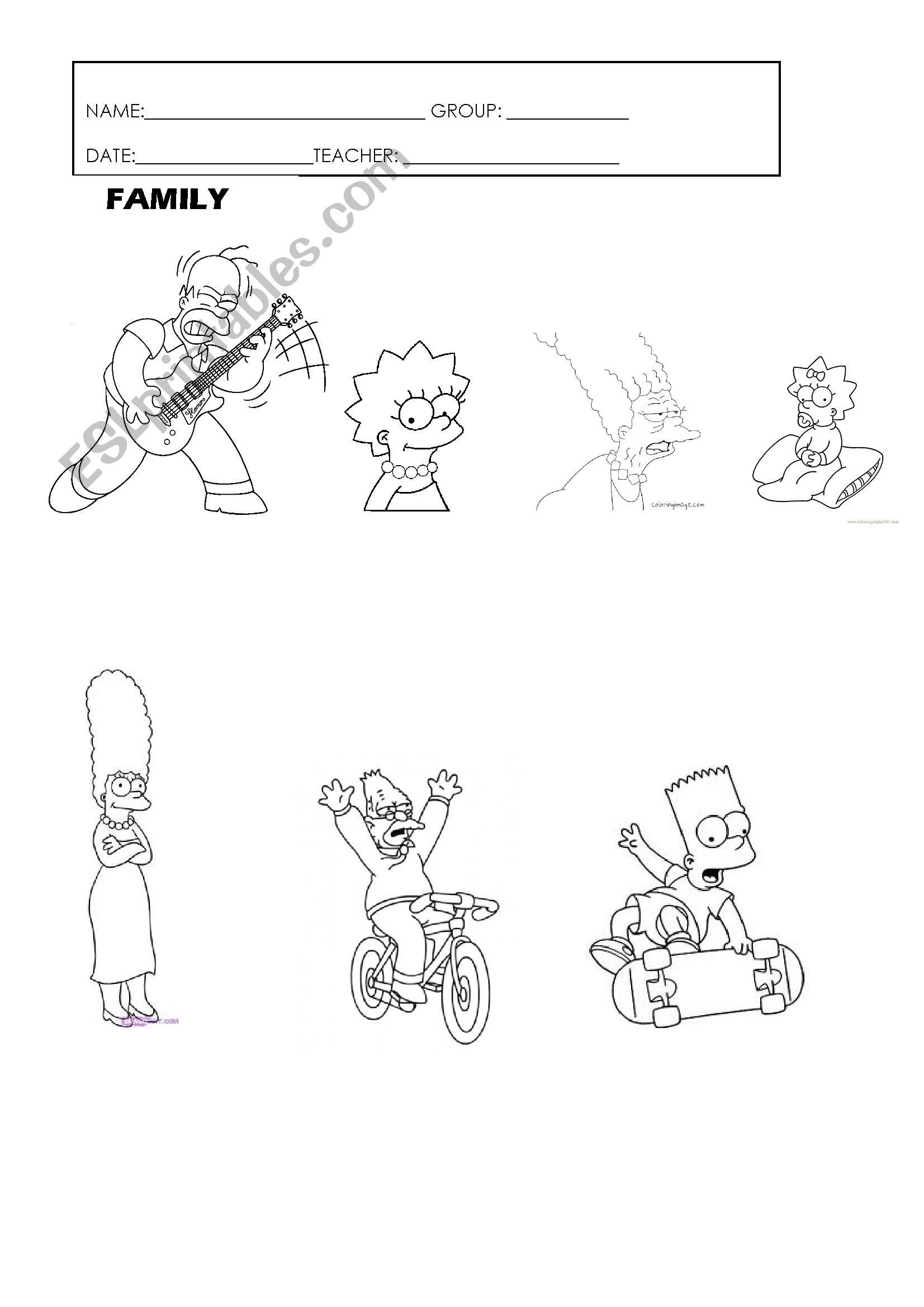 English worksheets: FAMILY MENBERS