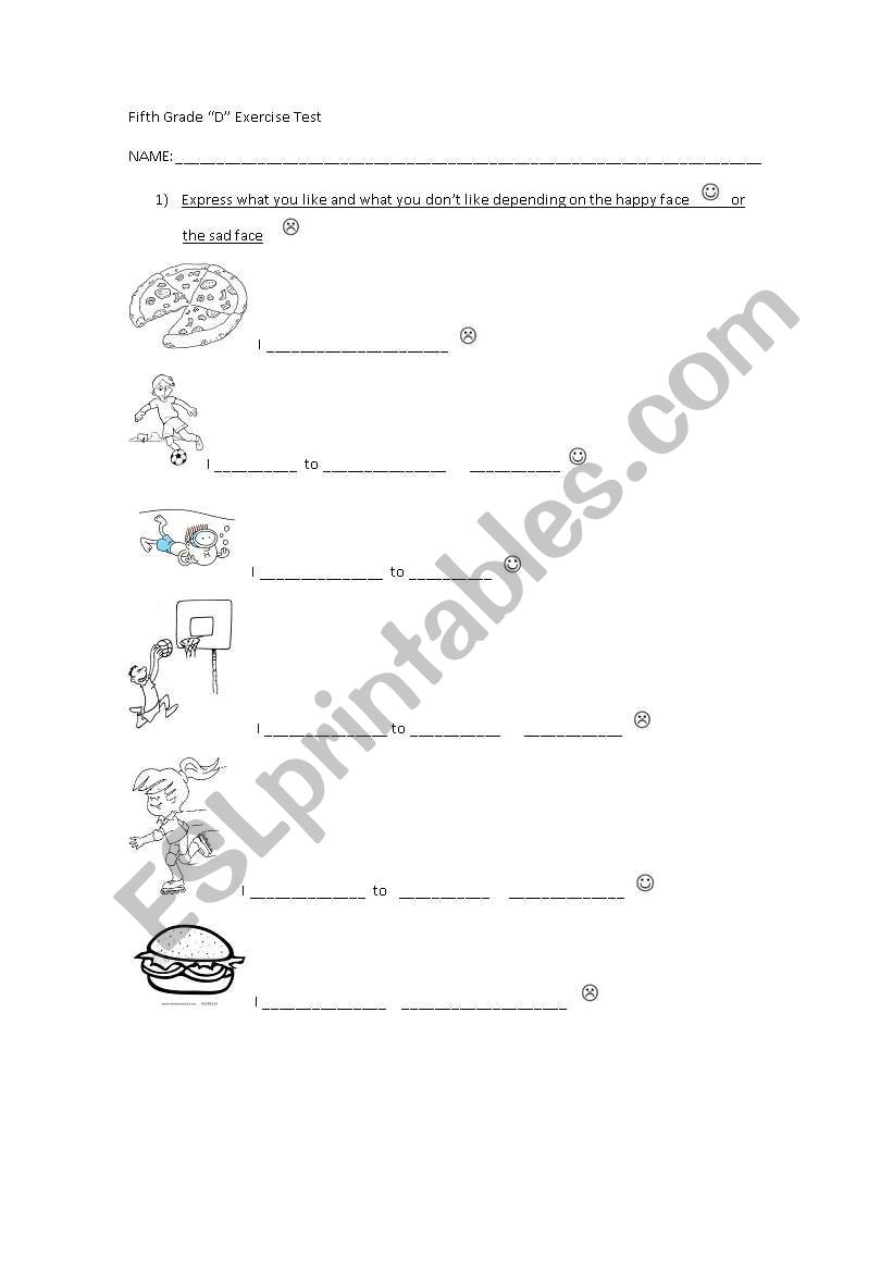 English worksheets: 5th grade diagnostic test