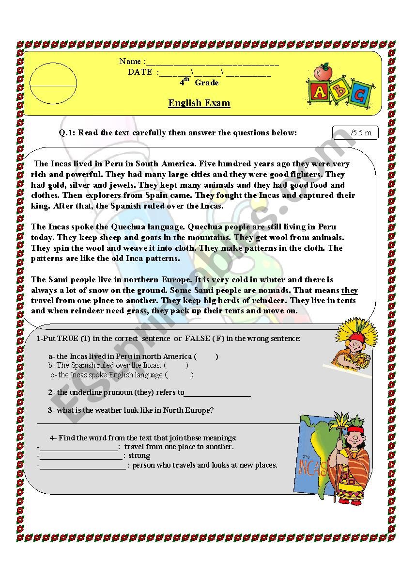 hight resolution of exam for 4th grade - ESL worksheet by tenbest
