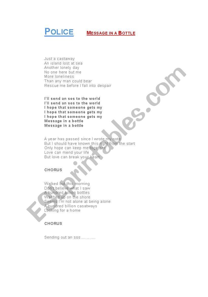 English worksheets: lyrics, Sting- message in a bottle