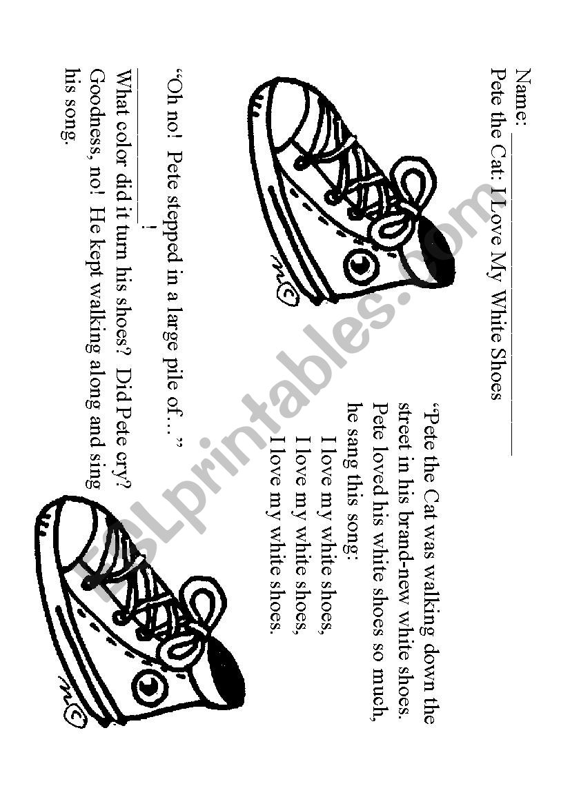 English worksheets: Pete the Cat: I Love My White Shoes